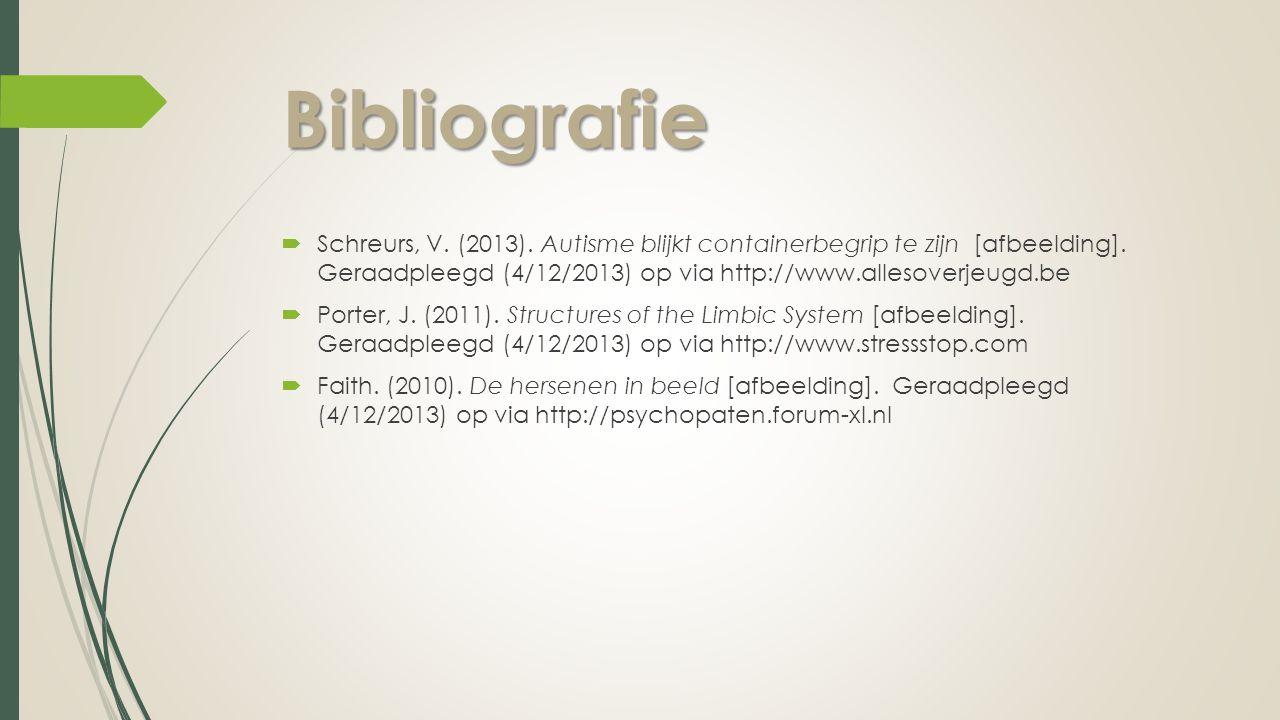Bibliografie Schreurs, V. (2013). Autisme blijkt containerbegrip te zijn [afbeelding]. Geraadpleegd (4/12/2013) op via http://www.allesoverjeugd.be.